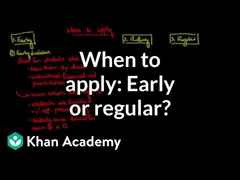 Deciding when to apply: early vs. regular decision
