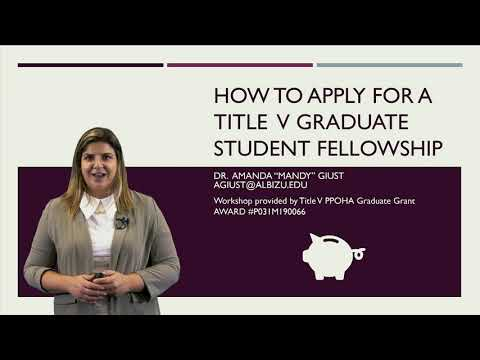 Title v ppoha graduate grant: how to apply for a title v graduate student fellowship part 1