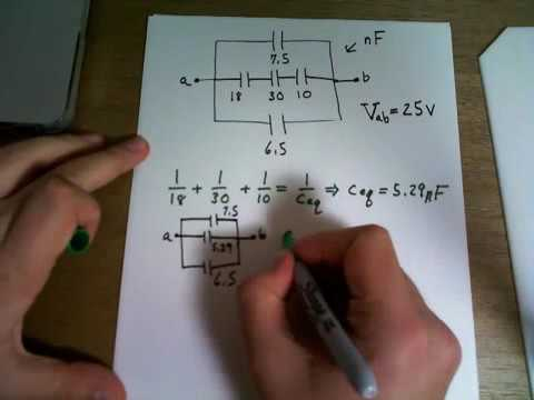 Equivalent capacitance of a system and finding total charge and potential difference in capacitor sd