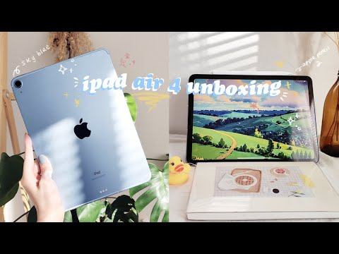 ✨ ipad air 4 sky blue 2020 chill asmr unboxing accessories 🍎 & an aesthetic study with me lol 📝📖