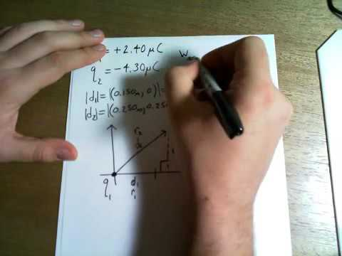 A point charge q_1 = 2.4 uc is held stationary at the origin. a second point charge q_2